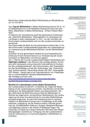 Berichte der Landesverbände - Deutscher Bibliotheksverband e.V.