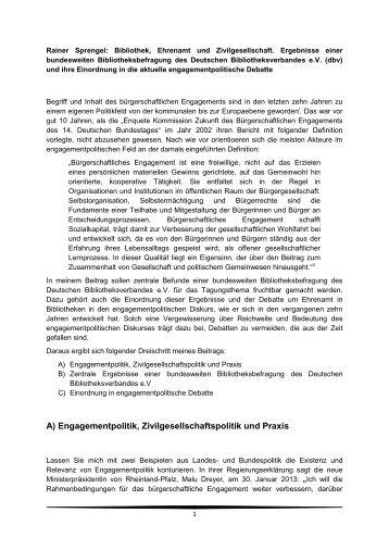 Bibliothek, Ehrenamt und Zivilgesellschaft. Ergebnisse einer ...