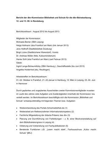 Berichte der Kommissionen - Deutscher Bibliotheksverband e.V.