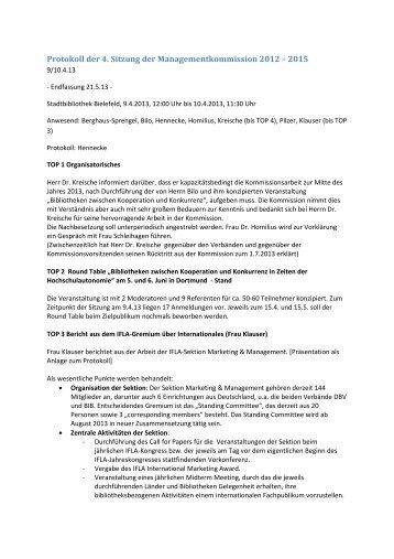 Protokoll der 4. Sitzung der Managementkommission 2012 – 2015