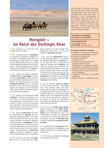 Mongolei 2014 - Biblische Reisen