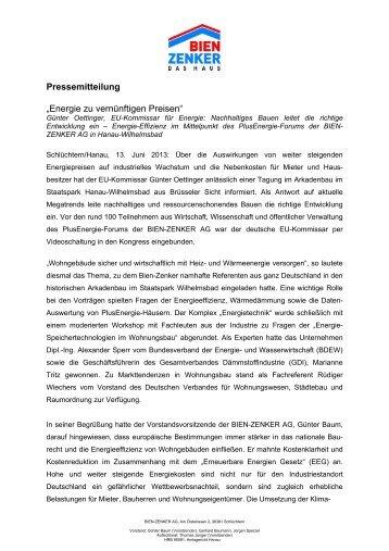"""Pressemitteilung """"Energie zu vernünftigen Preisen"""" - Bien Zenker"""