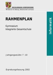 Rahmenplan Informatik - Bildungsserver Mecklenburg-Vorpommern