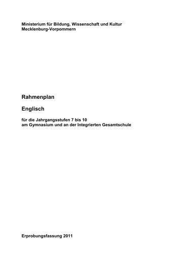 Rahmenplan Englisch - Bildungsserver Mecklenburg-Vorpommern