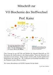 Mitschrift zur VO Biochemie des Stoffwechsel Prof. Kainz