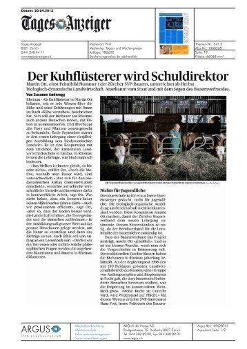 Der Kuhflüsterer wird Schuldirektor - Bioaktuell.ch