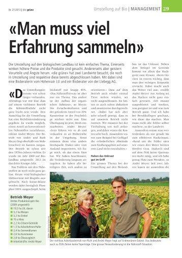 «Man muss viel Erfahrung sammeln» - Bioaktuell.ch