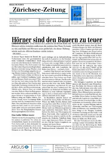 Hörner sind den Bauern zu teuer - Bioaktuell.ch