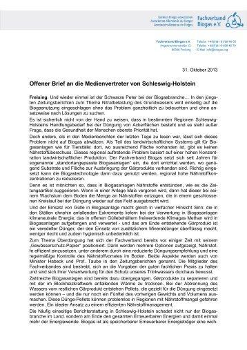 13-10-31_Offener Brief SH.pdf - Fachverband Biogas e.V.