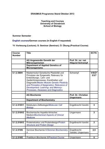 ERASMUS Programme Stand Oktober 2013 Teaching ... - Biologie