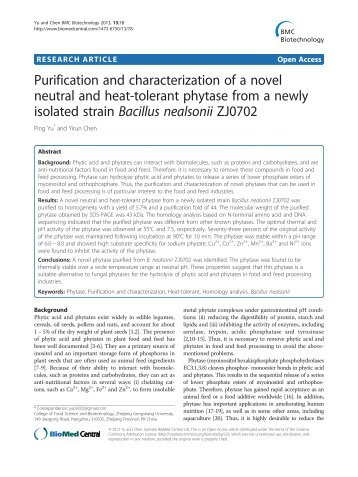 Purification and characterization of a novel neutral and heat-tolerant ...