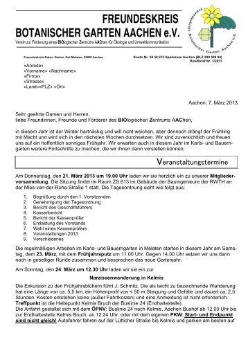 1/2013 - Freundeskreis Botanischer Garten Aachen