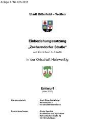 """Einbeziehungssatzung """"Zscherndorfer Straße"""" - Stadt Bitterfeld-Wolfen"""