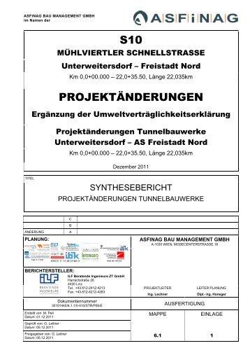 6.1.1. Synthesebericht Projektänderungen Tunnelbauwerke
