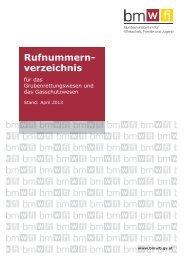 Rufnummernverzeichnis 2013 - Bundesministerium für Wirtschaft ...