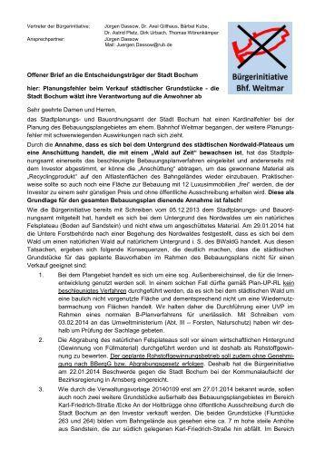 Offener Brief an die Entscheidungsträger der Stadt Bochum hier ...