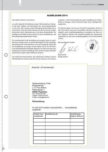 Amtliche Bekanntmachungen 03.2013 - Thale
