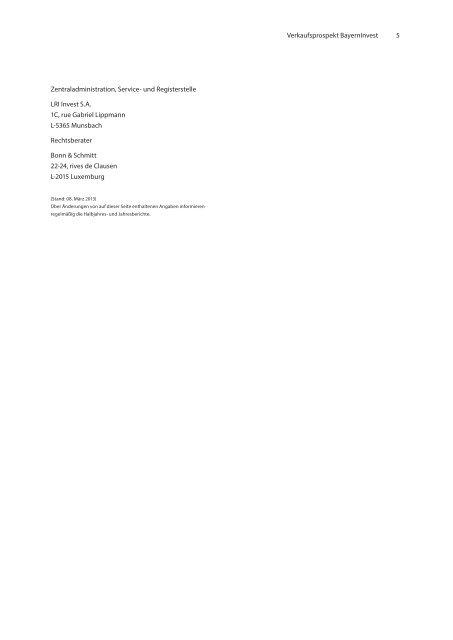 Verkaufsprospekt BayernInvest - Börse Stuttgart