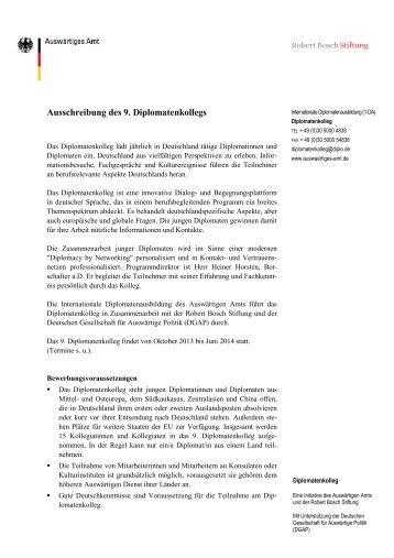 Ausschreibung des 9. Diplomatenkollegs - Robert Bosch Stiftung