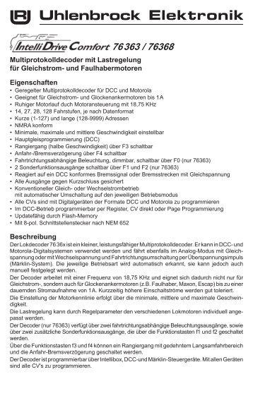 Multiprotokolldecoder mit Lastregelung für Gleichstrom ... - Brekina