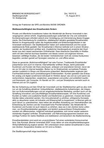 BREMISCHE BÜRGERSCHAFT Drs. 18/372 S Stadtbürgerschaft 15 ...
