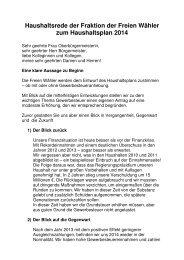 Haushaltsrede Freie Wähler 2014 - Bruchsal
