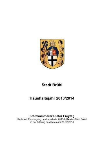 Rede zur Einbringung des Haushalts 2013/2014 der Stadt Brühl in ...