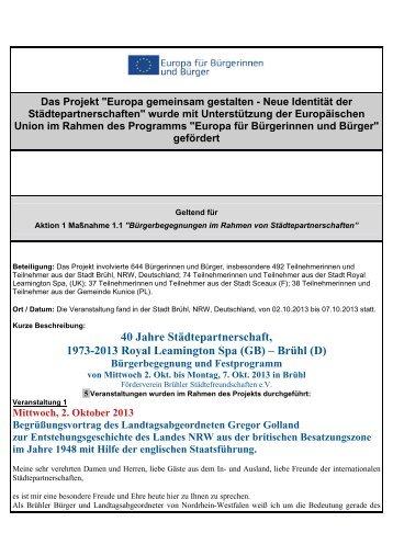 Abschlussbericht Projekt 40 Jahre Freundschaft mit ... - Stadt Brühl
