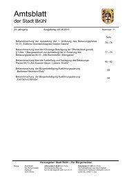 Amtsblatt der Stadt Brühl 29. Jahrgang, Ausgabetag: 06.06.2013 ...