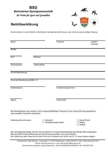 Beitrittserklärung - BSG Hausen