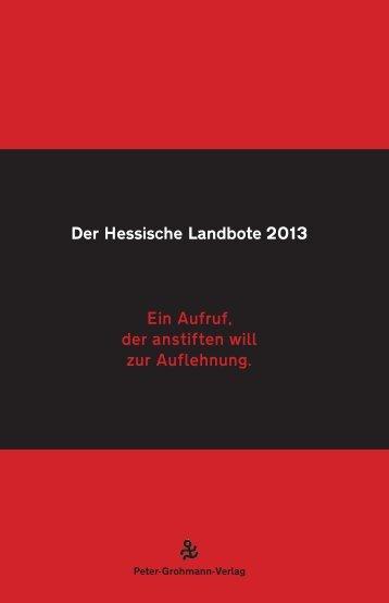 Der Hessische Landbote 2013 Ein Aufruf, der anstiften will zur ...