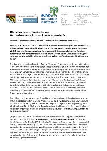 Bäche brauchen Knautschzone - Bund Naturschutz in Bayern eV