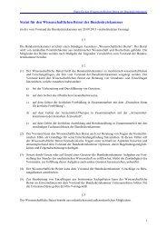 Statut für den Wissenschaftlichen Beirat der Bundesärztekammer