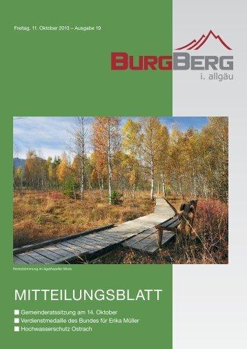 Burgberger Mitteilungsblatt Nr. 19/2013 - Burgberg im Allgäu