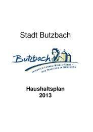 Haushaltsplan 2013 - Stadt Butzbach