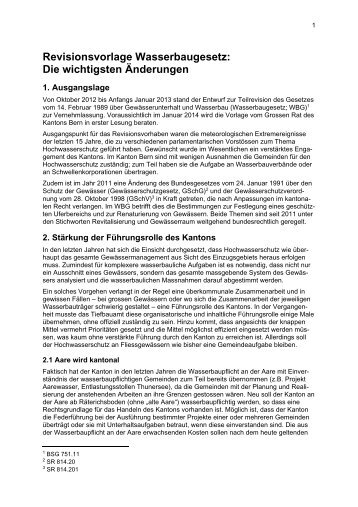 Revisionsvorlage Wasserbaugesetz: Die wichtigsten ... - Kanton Bern