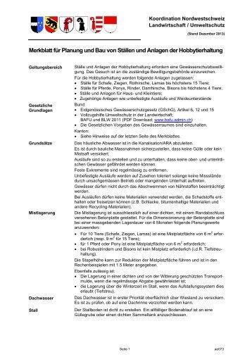 Merkblatt für Planung und Bau von Ställen und ... - Bau-, Verkehrs