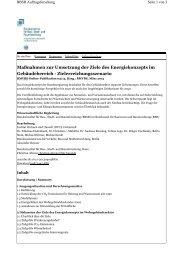 Maßnahmen zur Umsetzung der Ziele des Energiekonzepts im ...