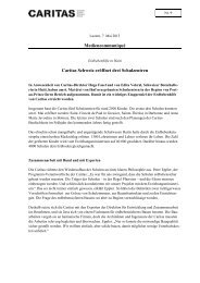 Mediencommuniqué Caritas Schweiz eröffnet drei Schulzentren