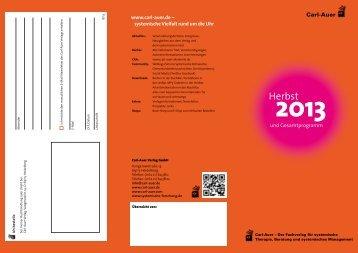 Prospekt Neuerscheinungen Herbst 2013 (PDF ... - Carl-Auer Verlag