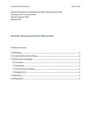 Dossier: Hermeneutisches Übersetzen - Carsten Sinner
