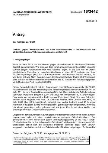 Antrag Drucksache 16/3442 - CDU Landtagsfraktion NRW