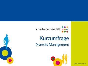 Kurzumfrage - Charta der Vielfalt