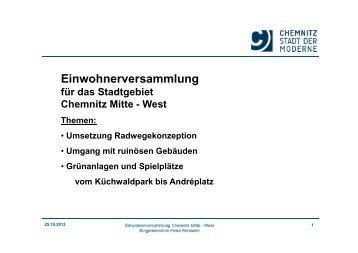 Vortrag von Bürgermeisterin Frau Wesseler zur ... - Chemnitz