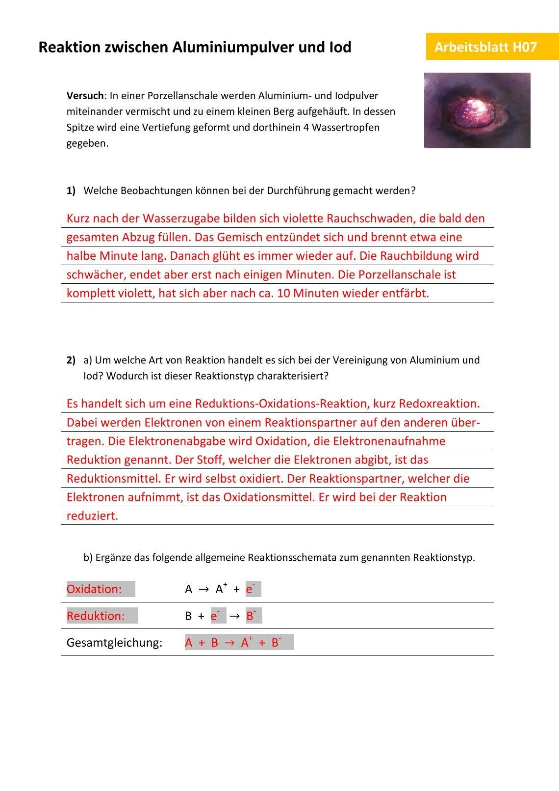 Fein Anzeichen Einer Chemischen Reaktion Arbeitsblatt Fotos ...