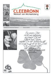 Amtsblatt der Gemeinde Cleebronn Woche 02/2014 Freitag, 10 ...