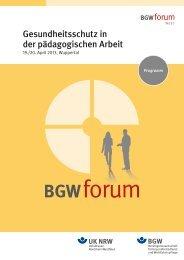 BGW forum West 2013 - Berufsgenossenschaft für Gesundheitsdienst ...