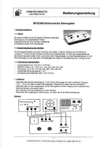 Elektronische Stimmgabel - Conatex-Didactic Lehrmittel GmbH