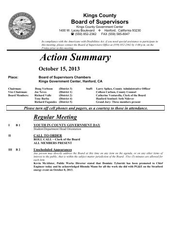 Action Summary October 15, 2013 - Kings County