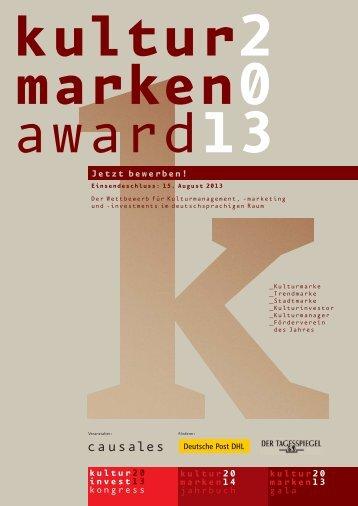 Kulturmarken-Award 2013 Ausschreibung
